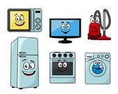 Cartoon household appliances set  — Stock Vector