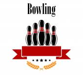 Bowling heraldic banner with ninepins — Stock Vector