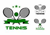 Tennis sport badges and emblems — Stockvector