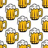 Beer tankard seamless pattern  — Stock Vector