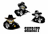American western sheriff characters set — Stock Vector
