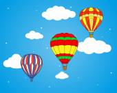 Air balloons and clouds wallpaper — Stok Vektör