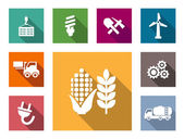 Industrial flat icons set — Stock Vector