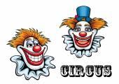 Circus cartoon clowns characters — Stock Vector