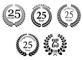 Anniversary jubilee laurel wreaths set — Stock Vector