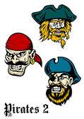 Cartoon brutal pirate captains set — Stock Vector
