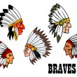 Indian brave chief portraits set — Stock Vector #52841351
