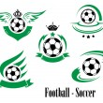 Set of football or soccer emblems — Stock Vector