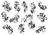 Retro floral motifs and foliate vignettes set — Stock Vector