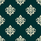 Floral light green damask seamless pattern — Stock Vector
