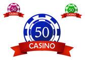 Casino chip emblem — Stock Vector