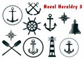 Naval heraldry icons set — Stock Vector