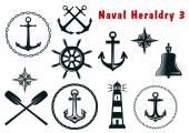 Naval heraldry icons set — Stock Vector
