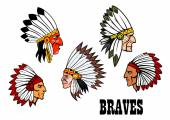 Indian brave chief portraits set — Stock Vector