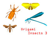 Origami paper insects — Stock Vector