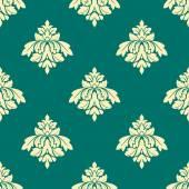 цветочные бежевый дамаск бесшовный узор на зеленый — Cтоковый вектор
