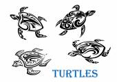 Swimming turtles set — Stock Vector
