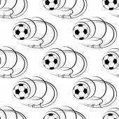 Seamless pattern of footballs or soccer balls — Stock Vector