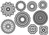 Circle vignette lace ornaments set — Stock Vector