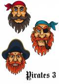 Cartoon fierce pirates set — Stock Vector