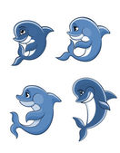 Cartoon dolphin calves set  — Stock Vector