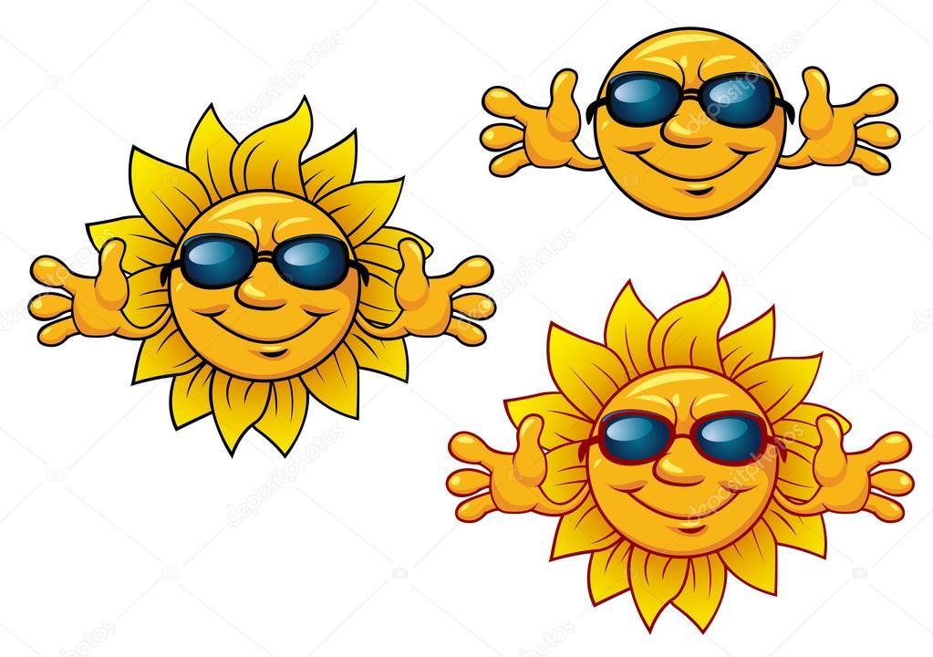 Cartone animato sorridenti personaggi sole con occhiali da