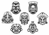 Ancient tribal religious masks — Stock Vector