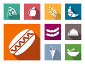 Flat colorful food icons — Stock Vector