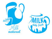 Jugs with natural milk — Stock Vector