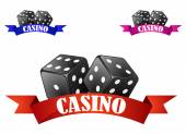 Casino dice symbol or badge with dice — Stock Vector