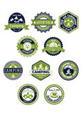 Camping and travel icons or badges — Stock Vector