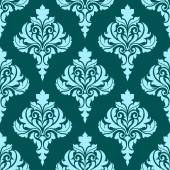 Floral seamless pattern with blue flowers on dark turquoise — Stock Vector