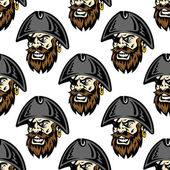 Cartoon pirate seamless pattern background — Stock Vector
