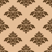 Floral seamless pattern with brown on beige — Stock Vector