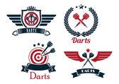 Darts emblems set — Stock Vector