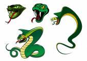 Cartoon angry snake characters — Stock Vector