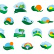 Summer and autumn agricultural landscape icons — Stock Vector #53784851