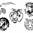 Wild lions, tigers and panthers — Stock Vector #53784909