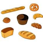 Set of cartoon bread bakeries — Stock Vector #53785003