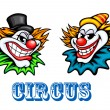 Colorful circus clowns characters — Stock Vector #53785057