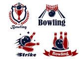 Bowling emblems and symbols — Stock Vector