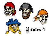 Cartoon pirates and captains — Stock Vector