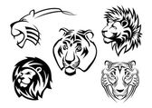 Wild lions, tigers and panthers — Stock Vector