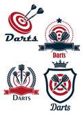 Darts sporting emblems — Stock Vector