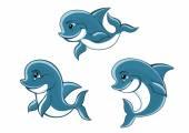 Cartoon little blue dolphins — Stock Vector