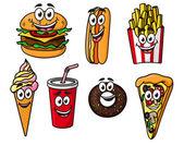 Happy colorful takeaway cartoon food — Stock Vector