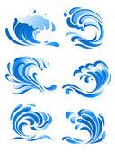 Blue curling ocean waves — Vector de stock