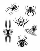 Black danger spiders set — Vector de stock