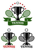 Big tennis sporting emblems — Stockvector