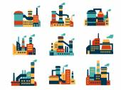 Flat industrial buildings and factories icons — Stock Vector